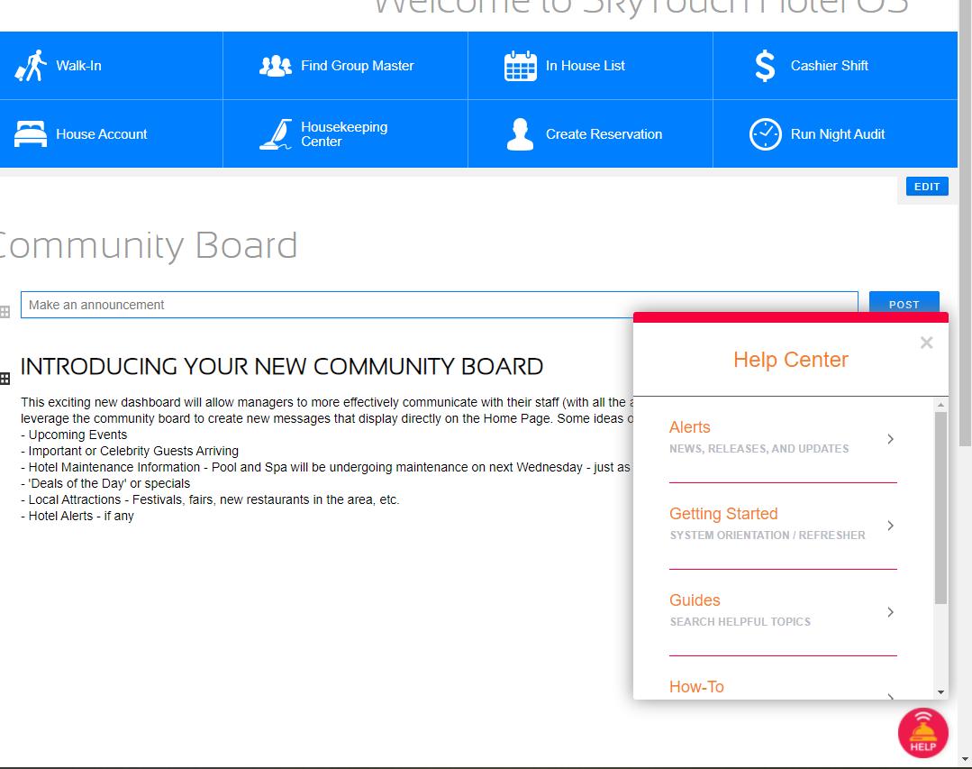 Screenshot of Help Center